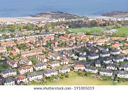 Modern homes built on the edge of North Berwick, Scotland - stock photo