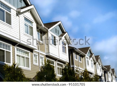 modern homes. real estate  retirement investment property  town house condo flats - stock photo