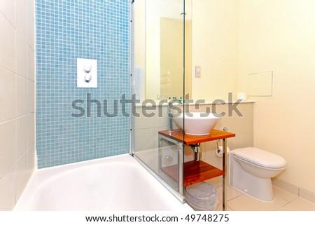 Modern Hotel Bathroom With Blue Mosaic Tiles