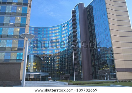 Modern Hotel Building Exterior.HDR Image. Horizontal Composition - stock photo