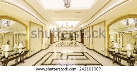 modern hotel interior and corridor - stock photo