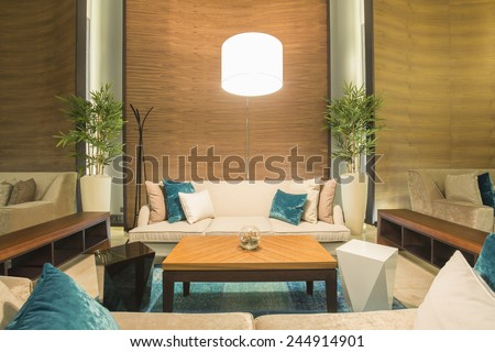 Modern hotel lobby cafe interior - stock photo