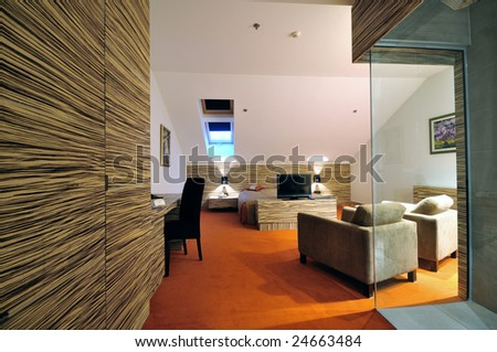 modern hotel room apartment indoor with double bed and lcd tv