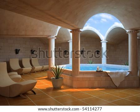 modern hotel spa interior (3D rendering) - stock photo