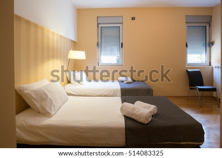 Modern Hotel Twin Room Interior