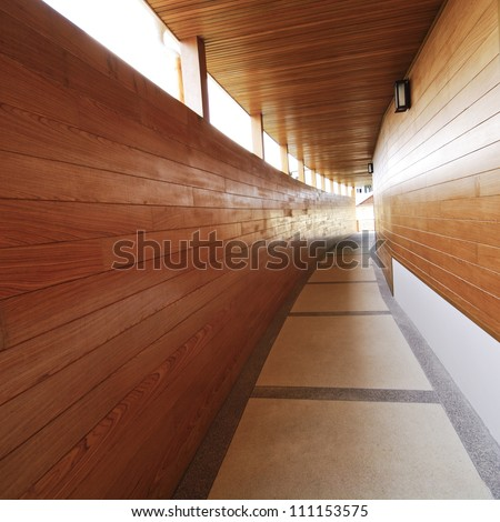 modern hotel wooden walkway - stock photo