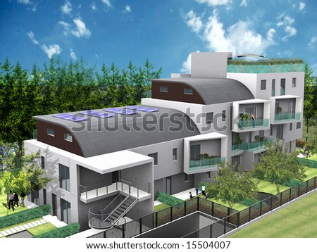 Modern house - stock photo