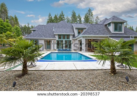 Modern House and Pool - stock photo