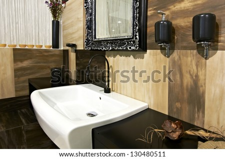 Modern house bathroom interior - stock photo