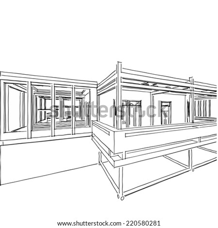 Abstract Modern Building Sketch Stock Illustration - Modern house sketch