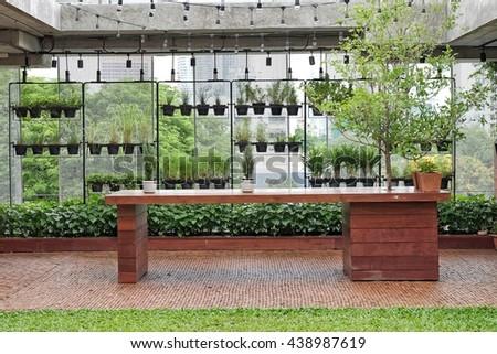 Modern House Design with Green Tropical Garden  - stock photo
