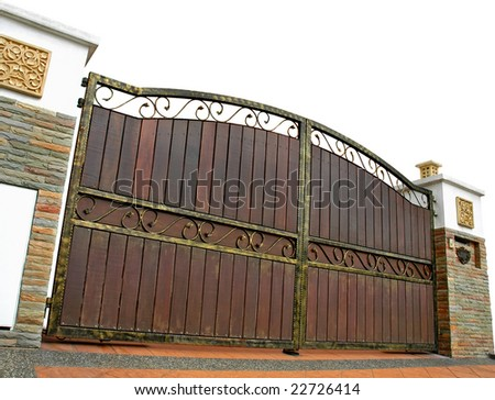 modern house gate isolated - stock photo