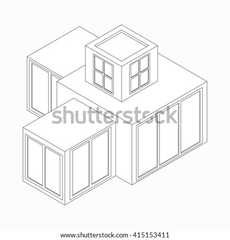 Modern house icon, isometric 3d style  - stock photo