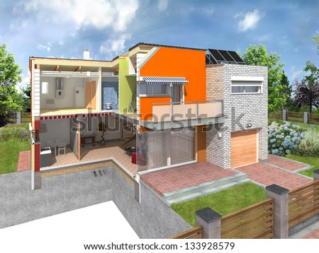 Modern house in the section with visible infrastructure. Concept of energy efficiency house with different types of building materials - stock photo