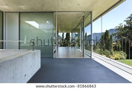 modern house interior, balcony view - stock photo