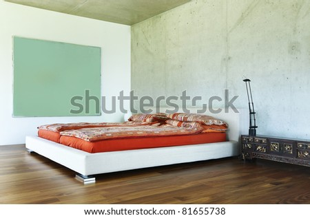 modern house interior, bedroom view - stock photo