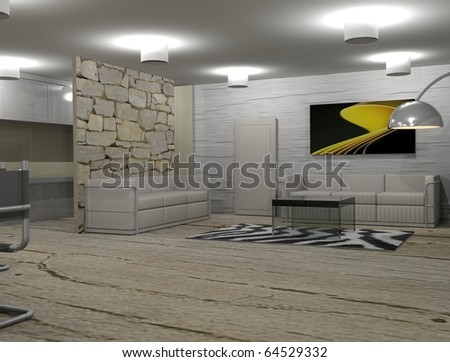 Modern house,living-room with the modern furniture - stock photo