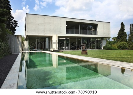 Modern house outdoors - stock photo