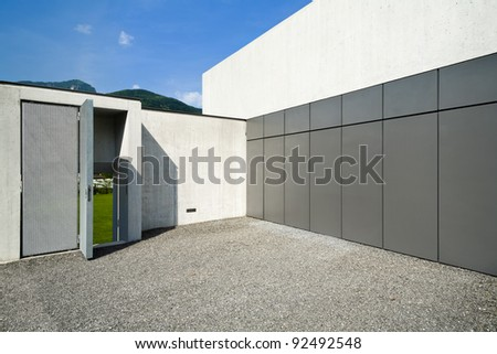 modern house, the garage entrance