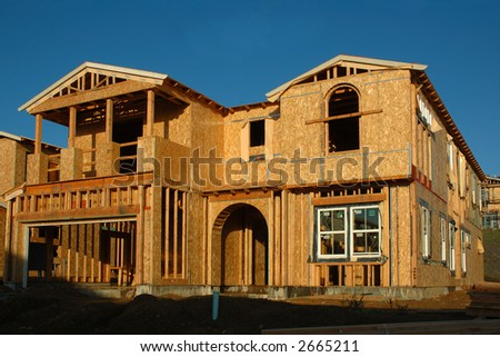 Modern house under construction in a new Development in Northern California - stock photo