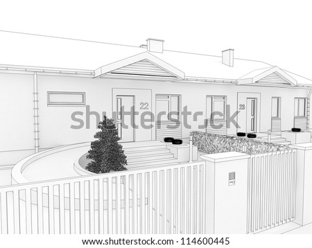 Modern house visualization, front yard view.Computer generated visualization in sketchy style. - stock photo