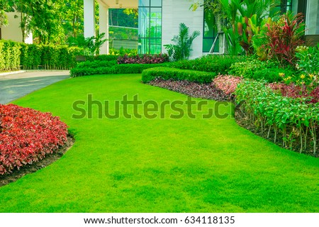 Modern House With Beautiful Landscaped Front Yard,Lawn And Garden