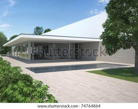 modern house with garden and pool - exterior view - stock photo