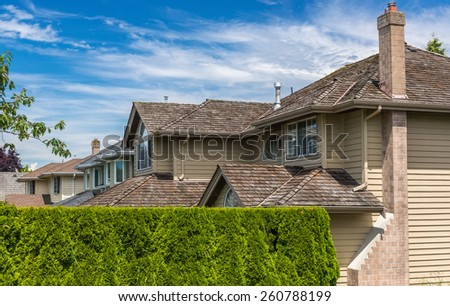 Modern houses in Richmond, British Columbia, Canada. - stock photo