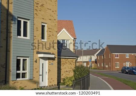 Modern housing in UK street - stock photo
