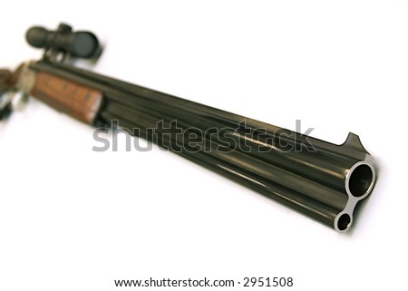 Modern hunting rifle with an optical sight - stock photo
