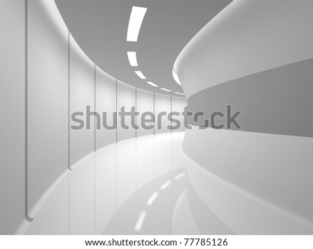 Modern illuminated long corridor