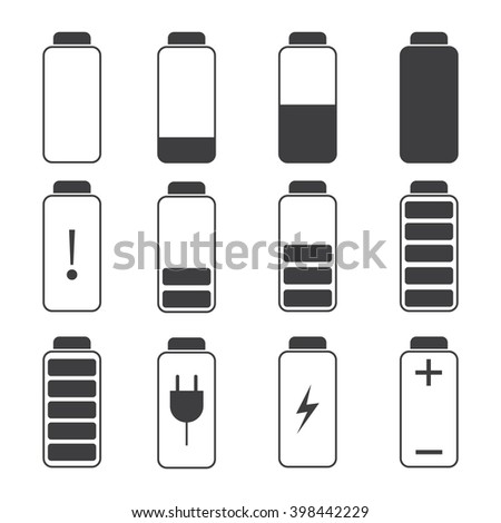 Modern illustration of a battery charging symbols. Battery charge. - stock photo