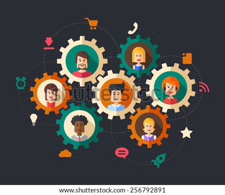 Modern illustration of abstract  people business composition - stock photo