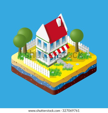 Modern illustration of an Isometric Building in suburb. Isometric city element. 3d buildings icon isolated on blue background.