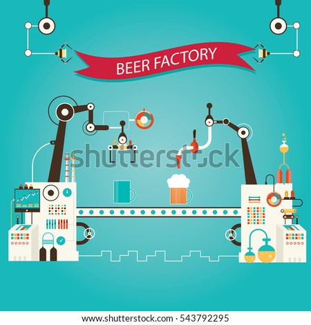 Modern  illustration of beer industry, beer manufacturing, factory of beer