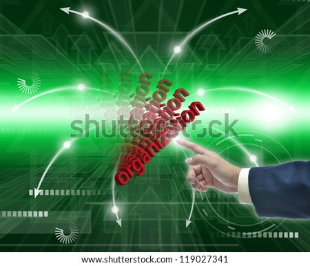 Modern Illustration of business selection on bright green abstract background.