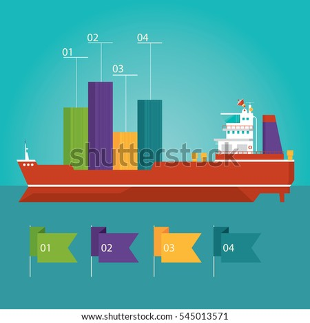 Modern illustration of container ship infographic, cargo ship, delivery in flat design style for presentation, booklet, website