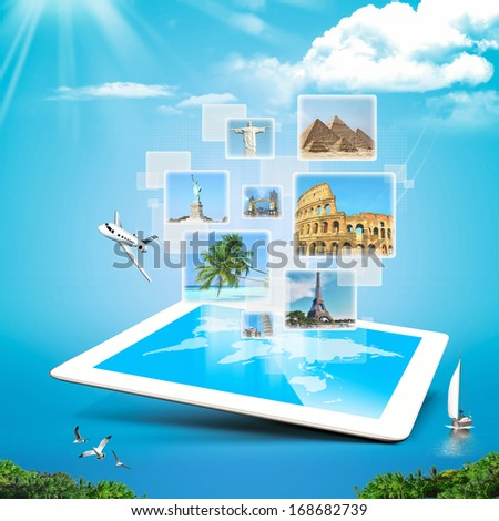 Modern illustration which depicts technology travel surreal  - stock photo