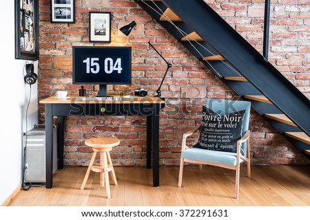 Modern industrial creative workspace. - stock photo