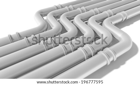 Modern industrial metal pipeline on white background. 3d render - stock photo