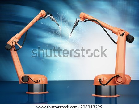 Modern Industrial Robotic Arms at assembling process - stock photo