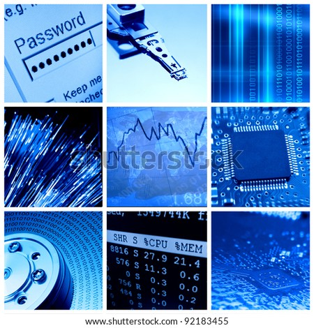 Modern information technologies collage - stock photo