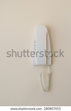 Modern intercom with receiver closeup - stock photo