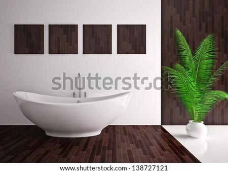 Modern interior  bathroom in house, apartment - stock photo
