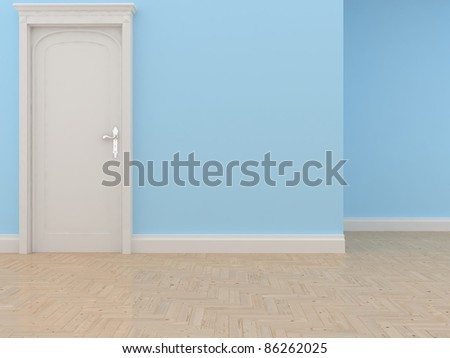 modern interior ( blue wall)
