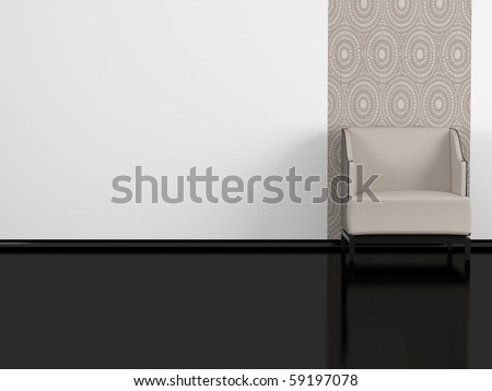 modern interior, brown armchair indoor, black glossy floor, white wall. 3d render/illustration - stock photo