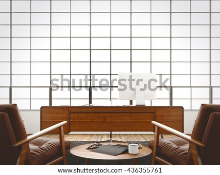 Modern interior cabinet loft with panoramic windows,natural wood floor.Generic design furniture,computer in contemporary business conference office.Blank black book,glasses table.3D rendering - stock photo