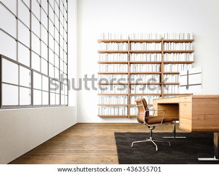 Modern interior cabinet room with panoramic windows,natural wood floor.Generic computers,generic design furniture in contemporary business conference office.Reflections monitor screen.3D rendering - stock photo