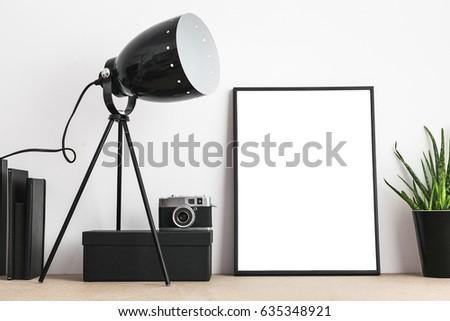 modern interior closeup black empty frame stock photo royalty free