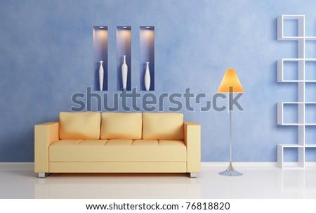 Modern interior compositiom with yellow sofa, white shelf and orange lamp. - stock photo